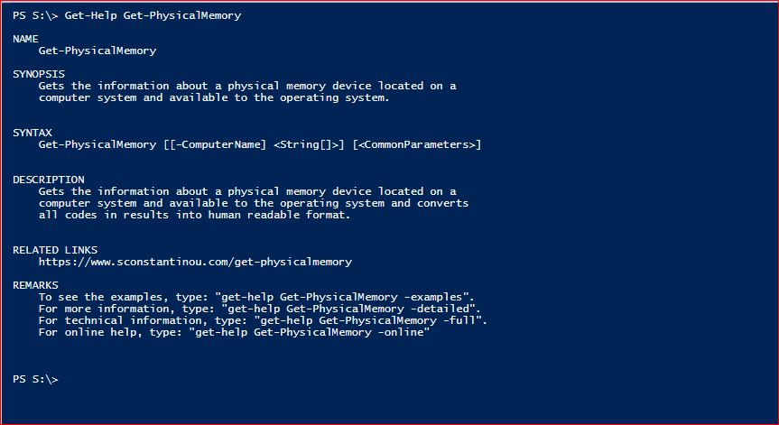 PowerShell Module SysInfo - Get-Help - Get-PhysicalMemory