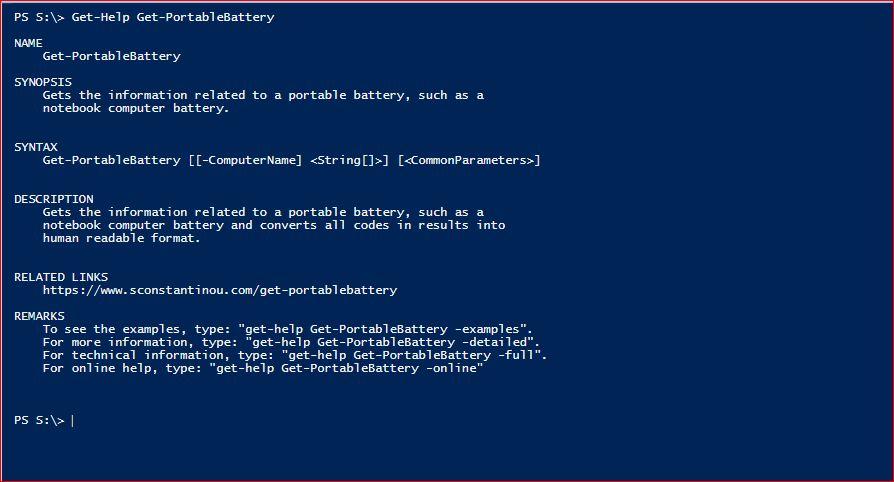 PowerShell Module SysInfo - Get-Help - Get-PortableBattery