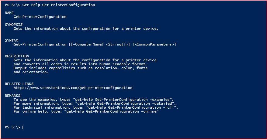 Get-PrinterConfiguration