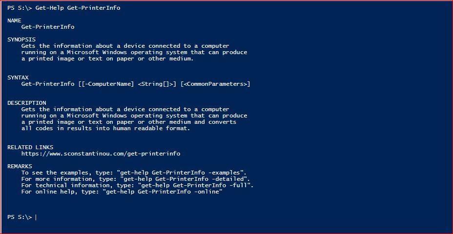 PowerShell Module SysInfo - Get-Help - Get-PrinterInfo