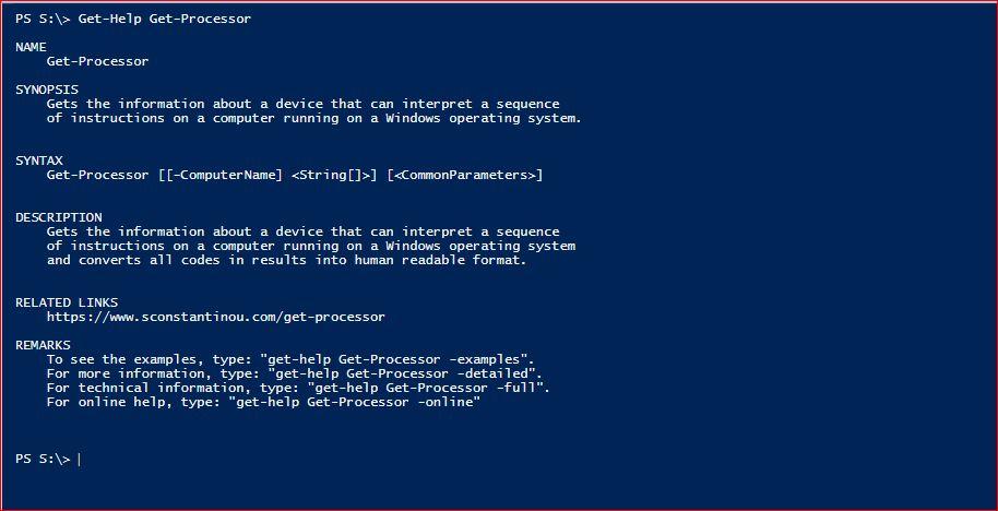 PowerShell Module SysInfo - Get-Help - Get-Processor