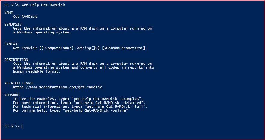 PowerShell Module SysInfo - Get-Help - Get-RAMDisk