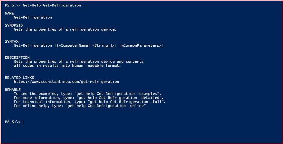PowerShell Module SysInfo - Get-Help - Get-Refrigeration