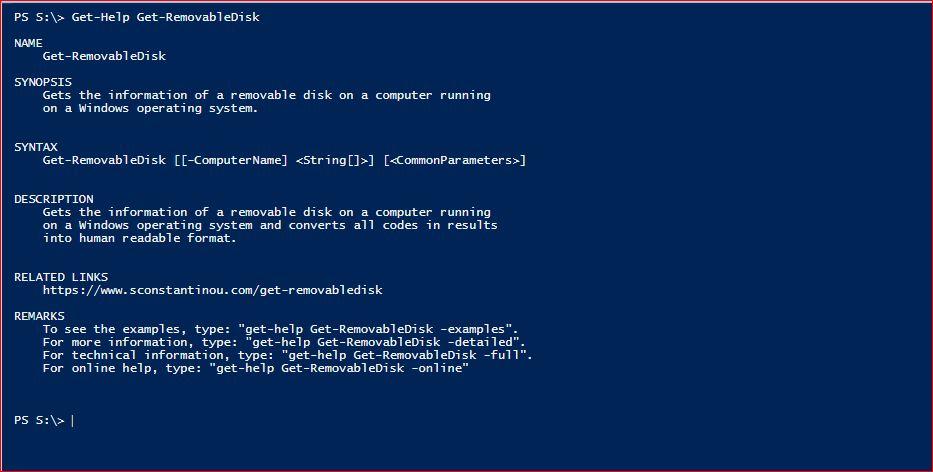 PowerShell Module SysInfo - Get-Help - Get-RemovableDisk