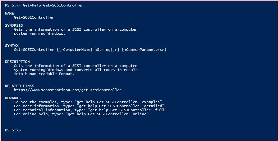 PowerShell Module SysInfo - Get-Help - Get-SCSIController