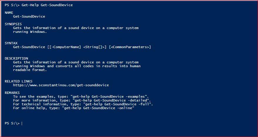 PowerShell Module SysInfo - Get-Help - Get-SoundDevice
