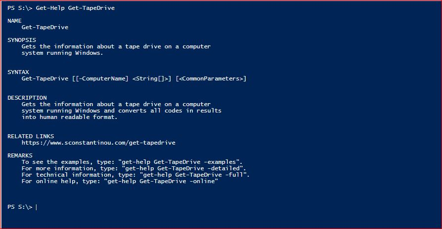 PowerShell Module SysInfo - Get-Help - Get-TapeDrive