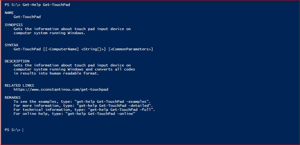 PowerShell Module SysInfo - Get-Help - Get-TouchPad