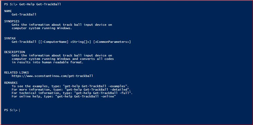 PowerShell Module SysInfo - Get-Help - Get-TrackBall