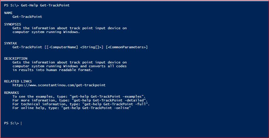 PowerShell Module SysInfo - Get-Help - Get-TrackPoint