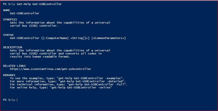 PowerShell Module SysInfo - Get-Help - Get-USBController