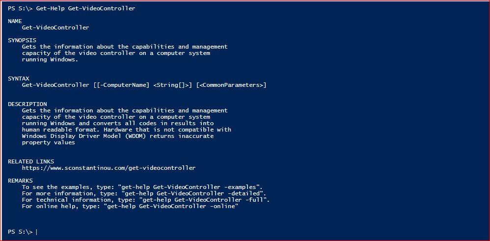 PowerShell Module SysInfo - Get-Help - Get-VideoController