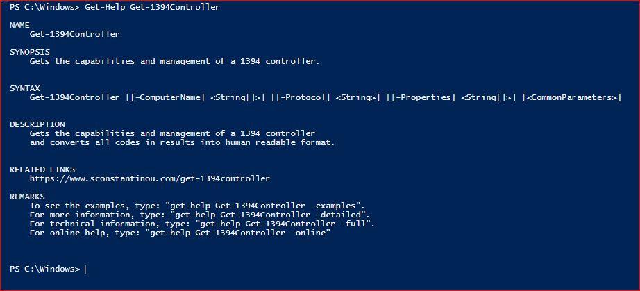 PowerShell Module SysInfo v1-1 - Get-Help - Get-1394Controller