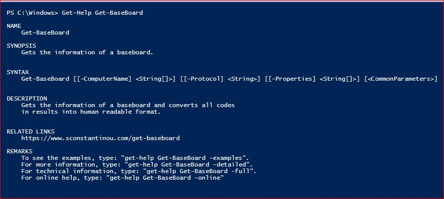 PowerShell Module SysInfo v1-1 - Get-Help - Get-BaseBoard