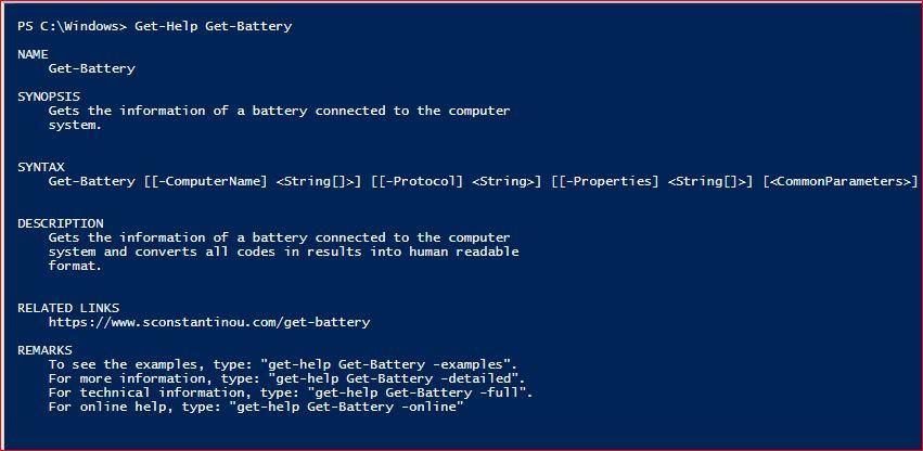 PowerShell Module SysInfo v1-1 - Get-Help - Get-Battery