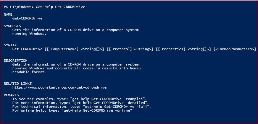 PowerShell Module SysInfo v1-1 - Get-Help - Get-CDROMDrive