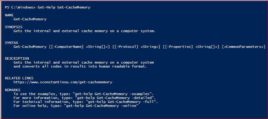 PowerShell Module SysInfo v1-1 - Get-Help - Get-CacheMemory