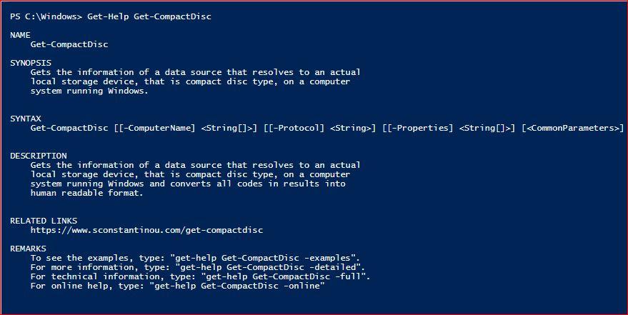 PowerShell Module SysInfo v1-1 - Get-Help - Get-CompactDisc