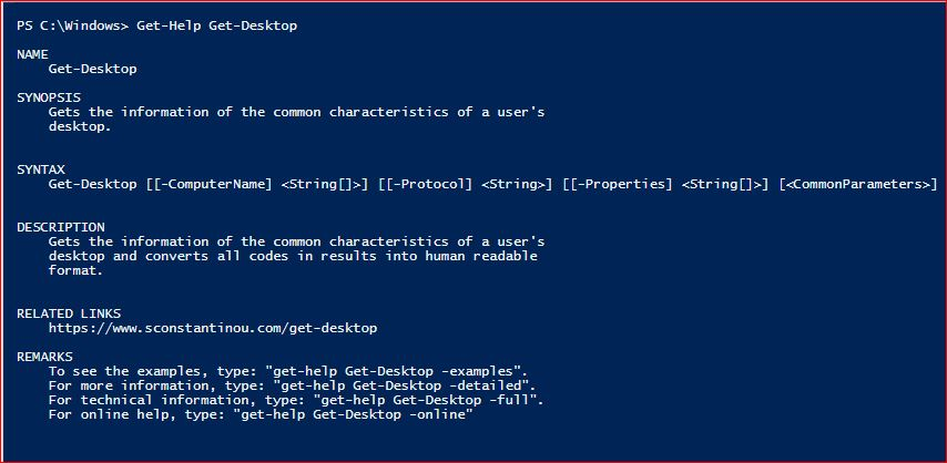 PowerShell Module SysInfo v1-1 - Get-Help - Get-Desktop