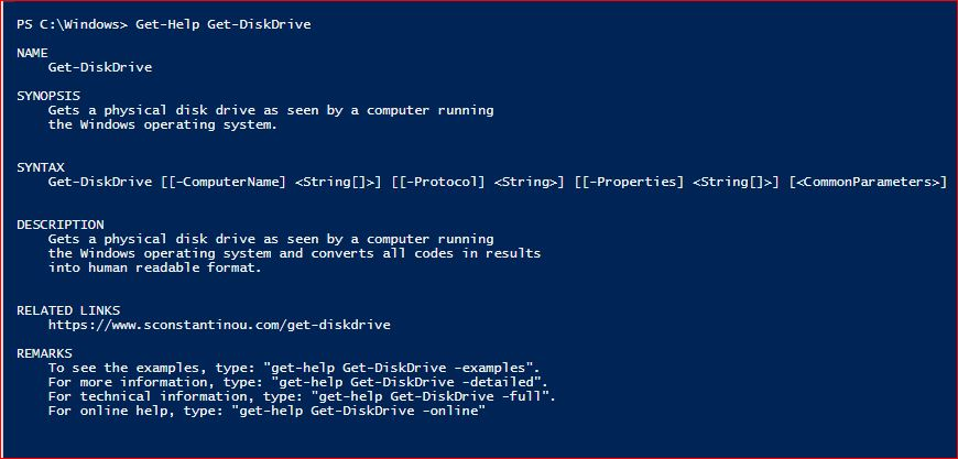 PowerShell Module SysInfo v1-1 - Get-Help - Get-DiskDrive