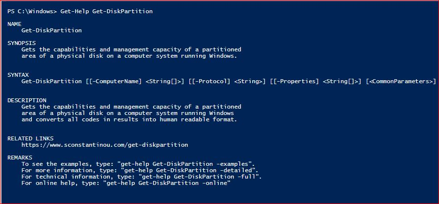PowerShell Module SysInfo v1-1 - Get-Help - Get-DiskPartition