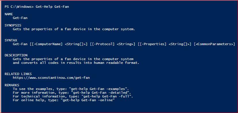 PowerShell Module SysInfo v1-1 - Get-Help - Get-Fan
