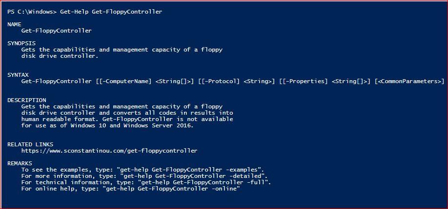 PowerShell Module SysInfo v1-1 - Get-Help - Get-FloppyController