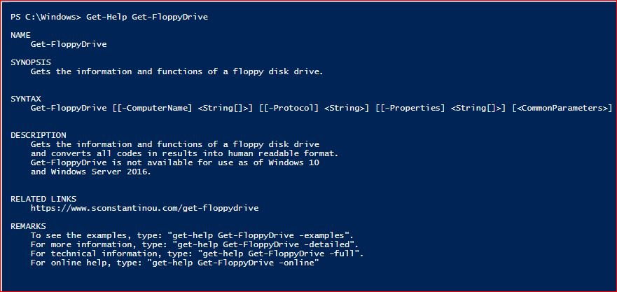PowerShell Module SysInfo v1-1 - Get-Help - Get-FloppyDrive