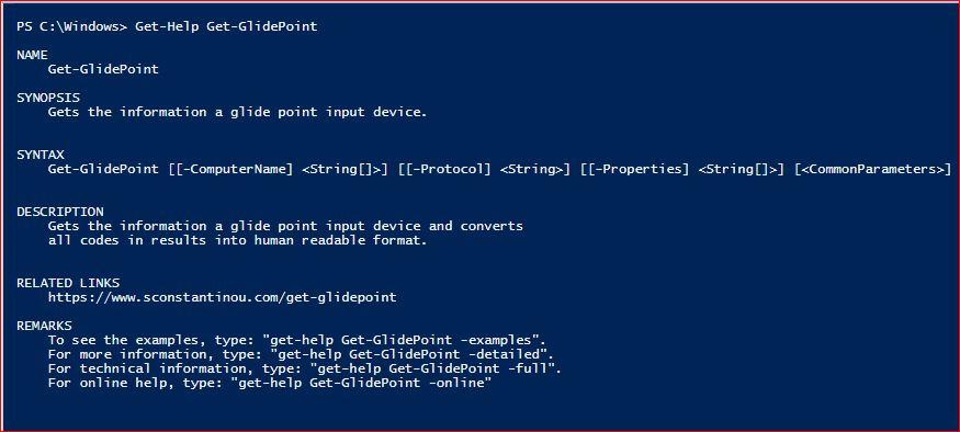 PowerShell Module SysInfo v1-1 - Get-Help - Get-GlidePoint