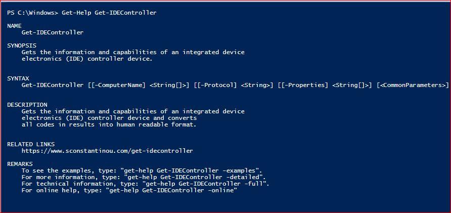 PowerShell Module SysInfo v1-1 - Get-Help - Get-IDEController