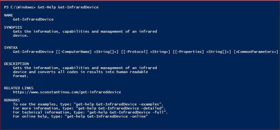 PowerShell Module SysInfo v1-1 - Get-Help - Get-InfraredDevice
