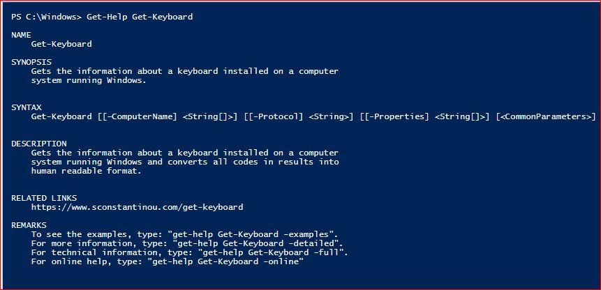 PowerShell Module SysInfo v1-1 - Get-Help - Get-Keyboard