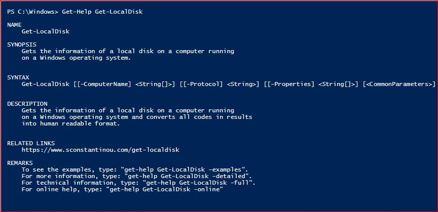 PowerShell Module SysInfo v1-1 - Get-Help - Get-LocalDisk