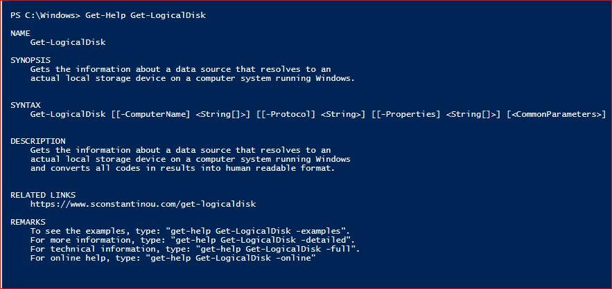 PowerShell Module SysInfo v1-1 - Get-Help - Get-LogicalDisk