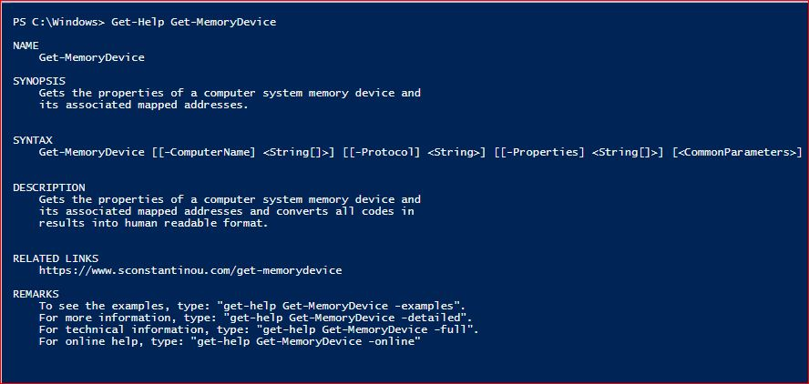PowerShell Module SysInfo v1-1 - Get-Help - Get-MemoryDevice