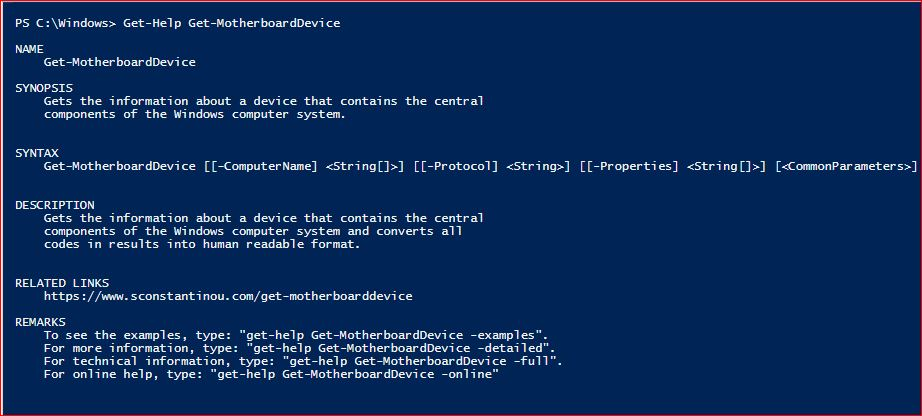 PowerShell Module SysInfo v1-1 - Get-Help - Get-MotherboardDevice