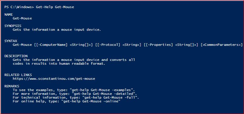 PowerShell Module SysInfo v1-1 - Get-Help - Get-Mouse