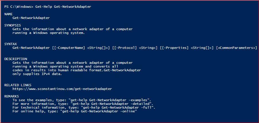 PowerShell Module SysInfo v1-1 - Get-Help - Get-NetworkAdapter