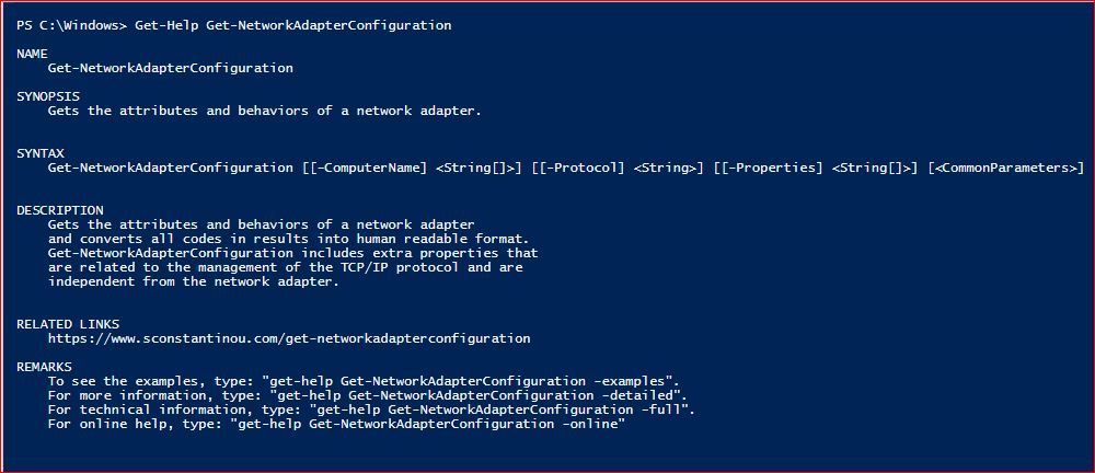 PowerShell Module SysInfo v1-1 - Get-Help - Get-NetworkAdapterConfiguration