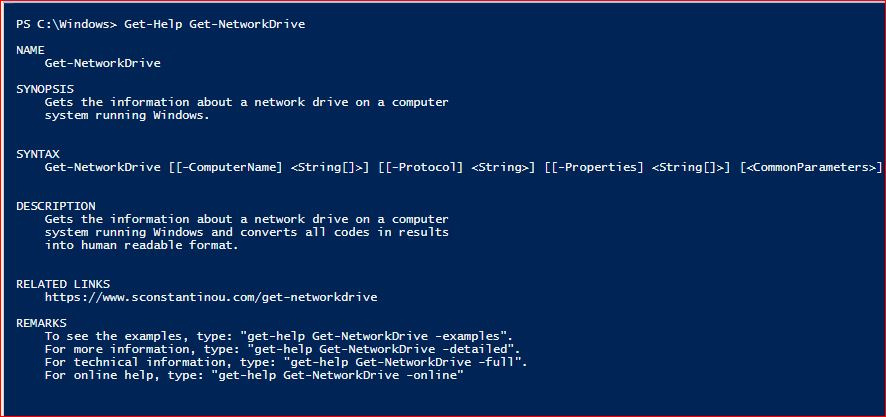 PowerShell Module SysInfo v1-1 - Get-Help - Get-NetworkDrive