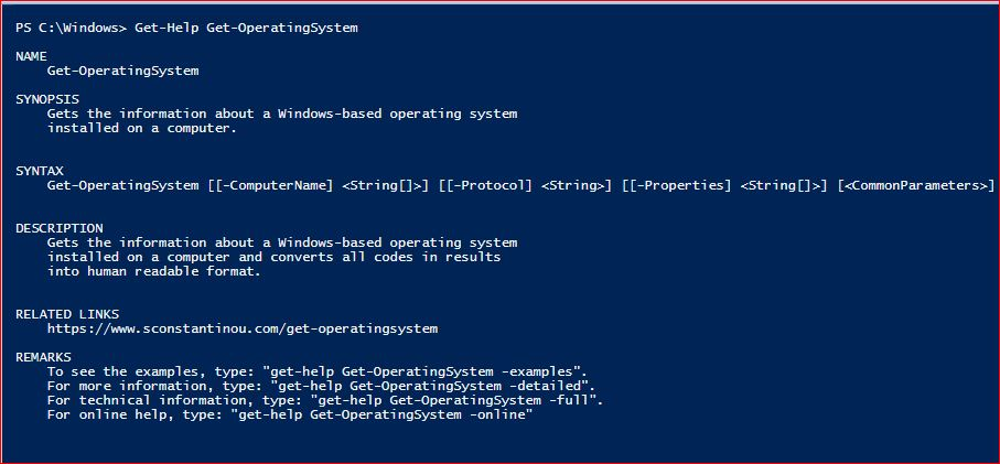 PowerShell Module SysInfo v1-1 - Get-Help - Get-OperatingSystem