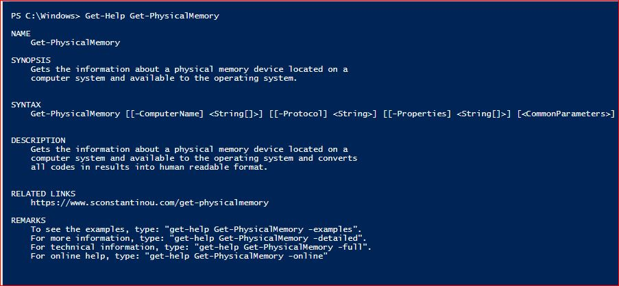 PowerShell Module SysInfo v1-1 - Get-Help - Get-PhysicalMemory