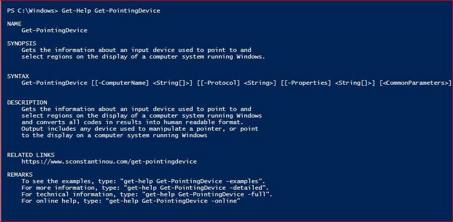 PowerShell Module SysInfo v1-1 - Get-Help - Get-PointingDevice