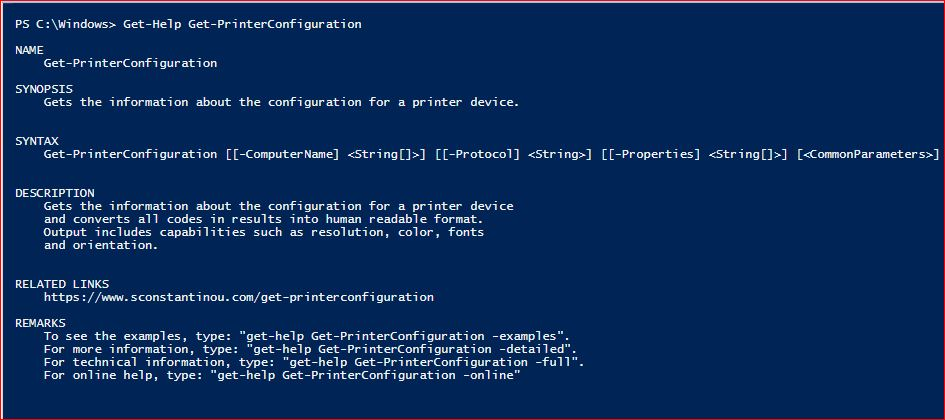 PowerShell Module SysInfo v1-1 - Get-Help - Get-PrinterConfiguration
