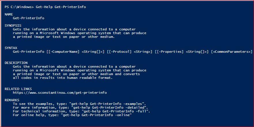 PowerShell Module SysInfo v1-1 - Get-Help - Get-PrinterInfo