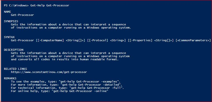 PowerShell Module SysInfo v1-1 - Get-Help - Get-Processor