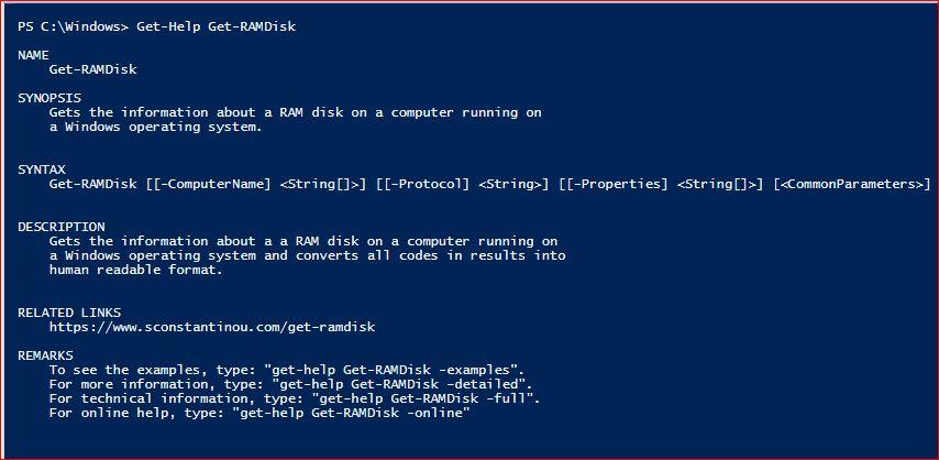 PowerShell Module SysInfo v1-1 - Get-Help - Get-RAMDisk