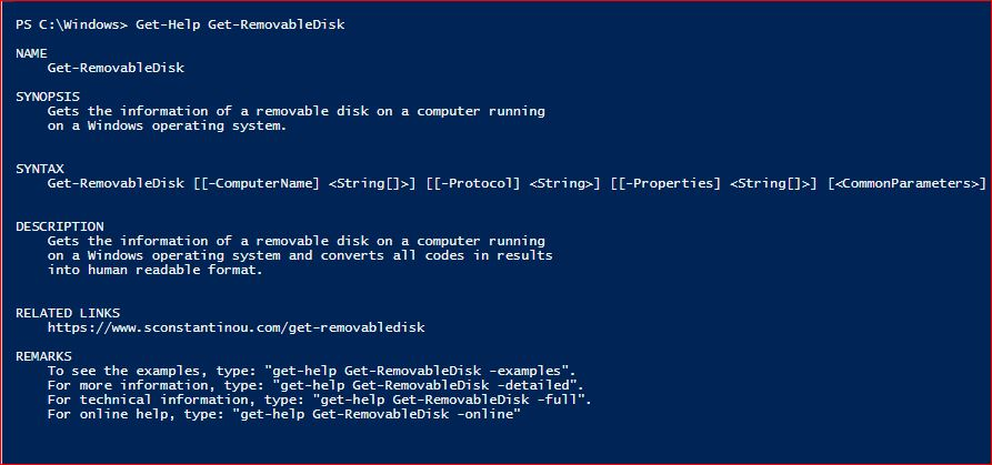 PowerShell Module SysInfo v1-1 - Get-Help - Get-RemovableDisk