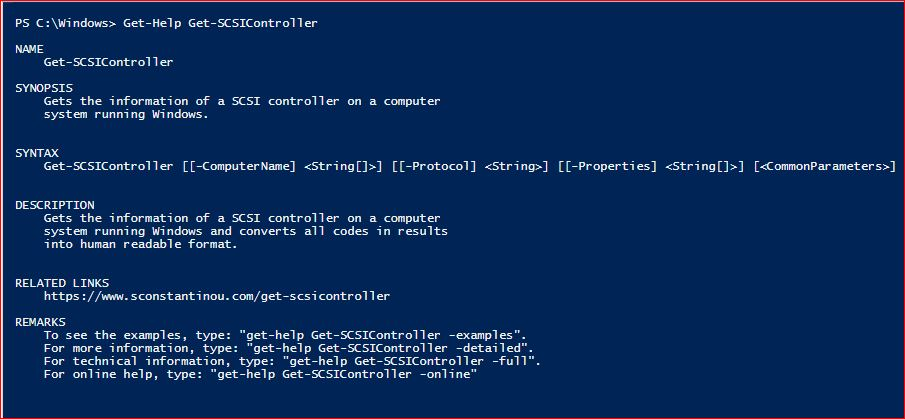 PowerShell Module SysInfo v1-1 - Get-Help - Get-SCSIController