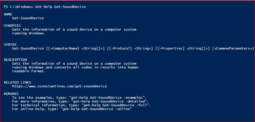 PowerShell Module SysInfo v1-1 - Get-Help - Get-SoundDevice
